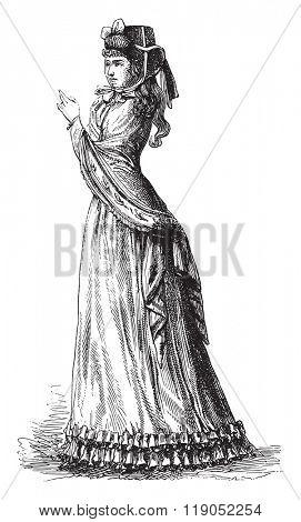 Hat cranked top, vintage engraved illustration. Magasin Pittoresque 1880.