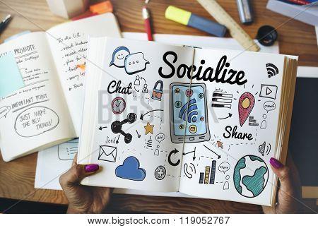 Socialize Sharing Social Media Sharing Concept