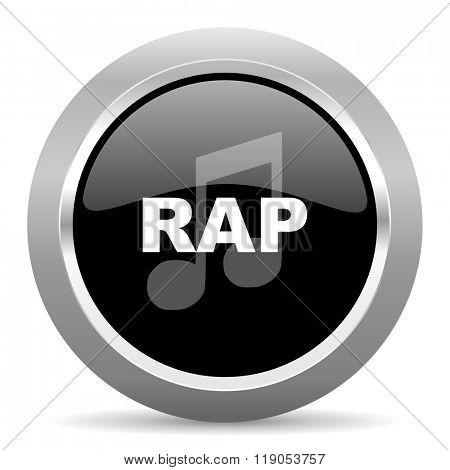 rap music black metallic chrome web circle glossy icon