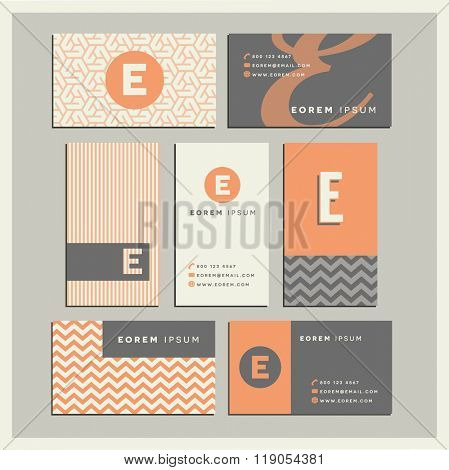 Set of coordinating business card designs with the letter e