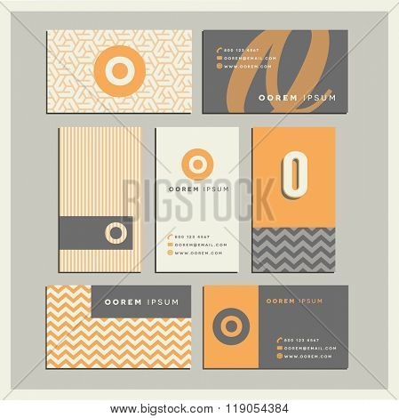 Set of coordinating business card designs with the letter o
