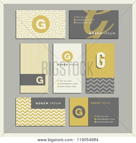 Set of coordinating business card designs with the letter g