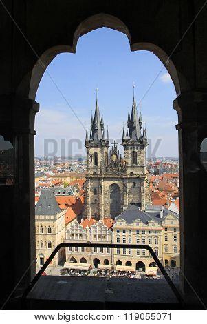 Prague, Czech Republic - April 24, 2013: Church Of Our Lady Before Tyn, Prague, Czech Republic. View