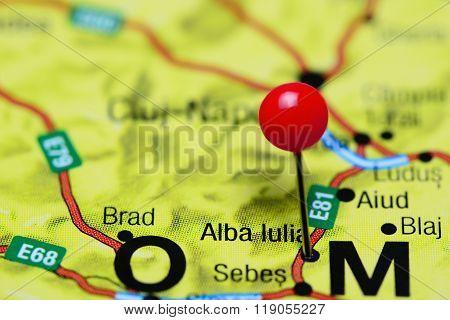 Alba Iulia pinned on a map of Romania
