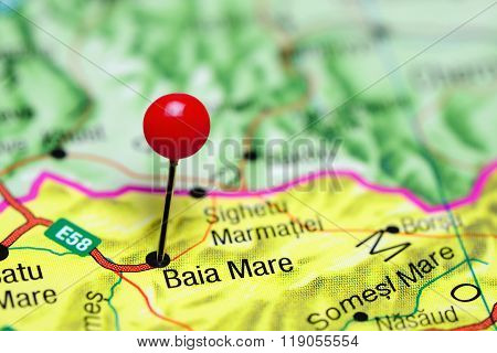 Baia Mare pinned on a map of Romania