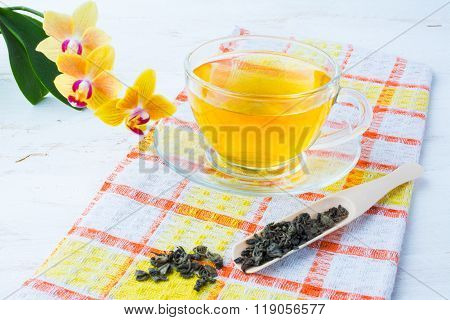 Cup Of Tea On Checkered Napkin