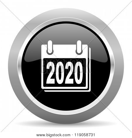 new year 2020 black metallic chrome web circle glossy icon