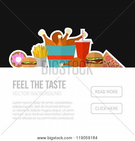 Fast Food Vector Concept. Lunch French Fries, Chicken, Donut, Pizza,burger And Soda. Flat Design Che