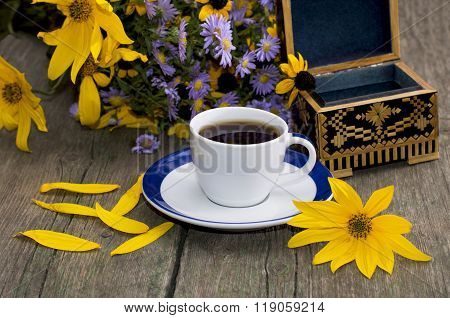Bouquet Of Wild Flowers, Coffee, Casket And Yellow Petals