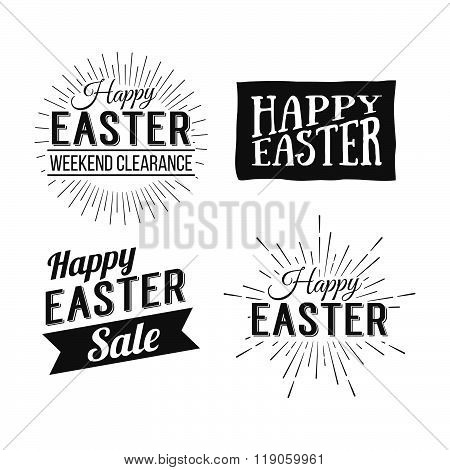 Happy Easter Greeting Card. Easter Sale. Hand Drawn Logo Lettering. Easter Holidays Lettering For In