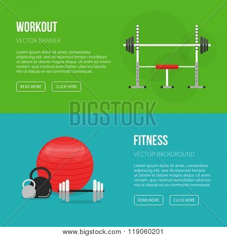 Sport Equipment Flat Banner Template. Gym And Fitness Club. Gym Training, Bodybuilding, Healthy And