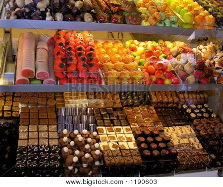 Homemade Candy Shop Window Display