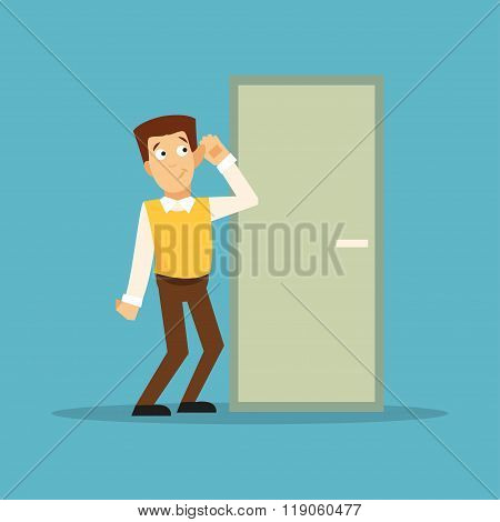 Overhears A Man. Vector Illustration