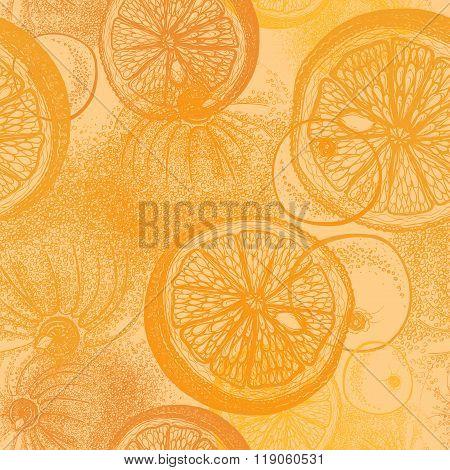 Oranges Citrus. Wallpaper Seamless Pattern