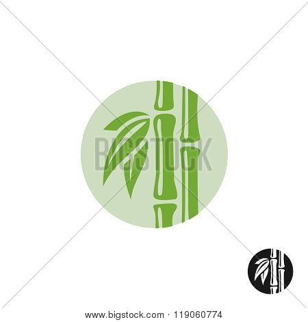 Bamboo Logo. Leaves And Stem In A Round Badge.