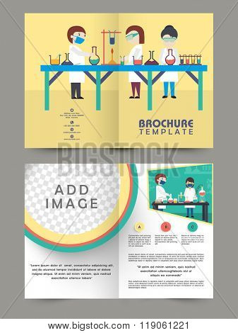 Creative Two Page Brochure, Template or Flyer design with illustration of scientists working in lab for your Business.