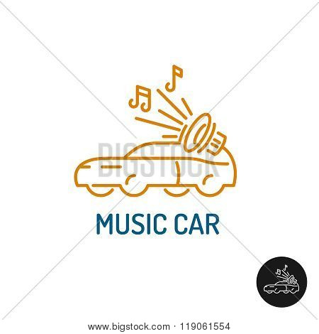 Musi? Car Logo. Linear Style Vehicle Silhouette With Subwoofer And Notes.