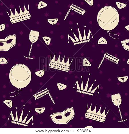 Purim attributes cheerful seamless pattern