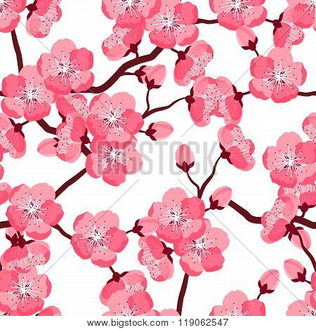 Japanese sakura seamless pattern with stylized flowers. Background made without clipping mask. Easy