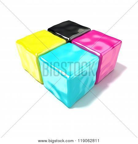 CMYK cubes sign like symbol of printing. 3D