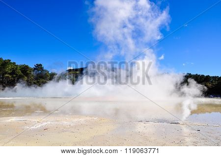 Geysers In The Wai-o-tapu Geothermal Area, Near Rotorua, New Zealand