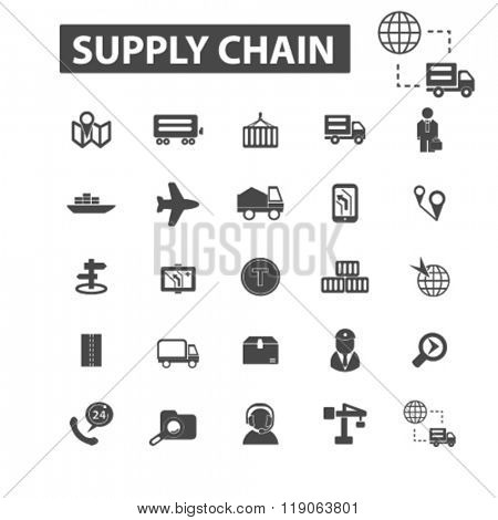 supply chain icons, supply chain logo, delivery icons vector, delivery flat illustration concept, delivery infographics elements isolated on white background, delivery logo, delivery symbols