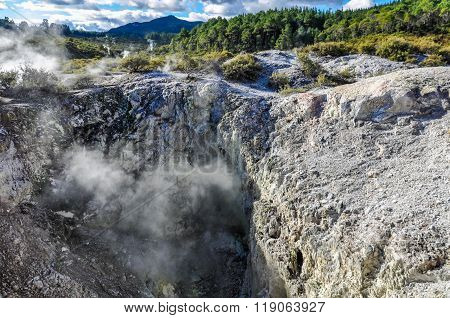Steam Coming Out In The Wai-o-tapu Geothermal Area, Near Rotorua, New Zealand