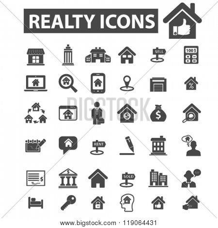 real estate icons, real estate logo, realty icons vector, realty flat illustration concept, realty infographics elements isolated on white background, realty logo, realty symbols set, sell, buy house