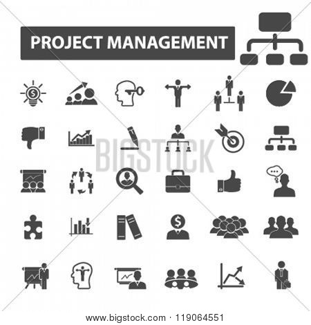 project management icons, project management logo, planning icons vector, planning flat illustration concept, planning logo, planning symbols set, project, plan, manager