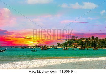 Beautiful Sunrise, Tropical Beach , Turquoise Ocean Water .
