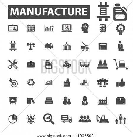 manufacture icons, manufacture logo, industry icons vector, industry flat illustration concept, industry infographics elements isolated on white background, industry logo, industry symbols set,
