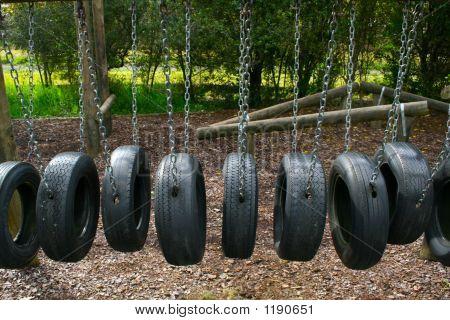 Playground Tire Bridge Swing
