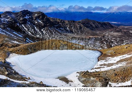 Frozen Emerald Lakes In The Tongariro National Park, New Zealand