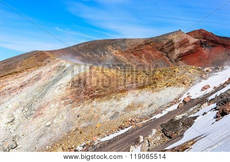 Side View Of Red Crater In The Tongariro National Park, New Zealand