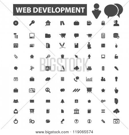 web development icons, web development logo, website icons vector, website flat illustration concept, website infographics elements isolated on white background, website logo, website symbols set,