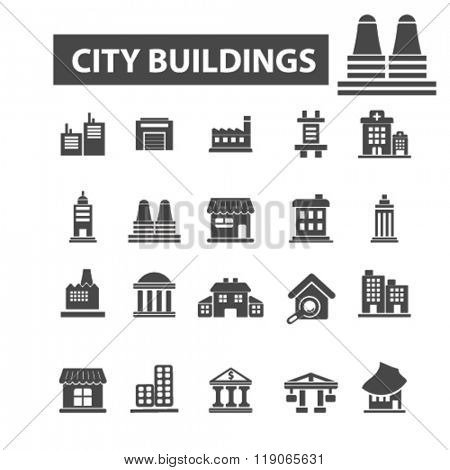 city icons, city logo, building icons vector, building flat illustration concept, building infographics elements isolated on white background, building logo, building symbols set, urban homes