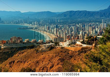 Benidorm Cityscape. Benidorm Is A Coastal City In Alicante, Costa Blanca. Spain