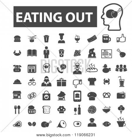 eating out icons, eating out logo, food icons vector, food flat illustration concept, food infographics elements isolated on white background, food logo, food symbols set, drinks, menu, vegetables