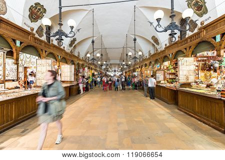 Interior Of Old Market In Krakow, Poland.