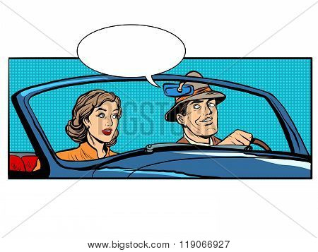 Couple man and woman in convertible car