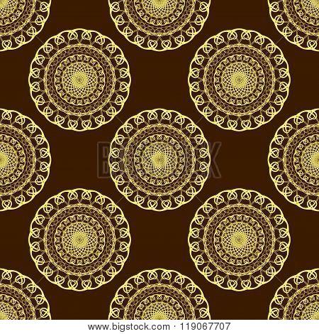Vector Gold Seamless Mandala Pattern over dark brown