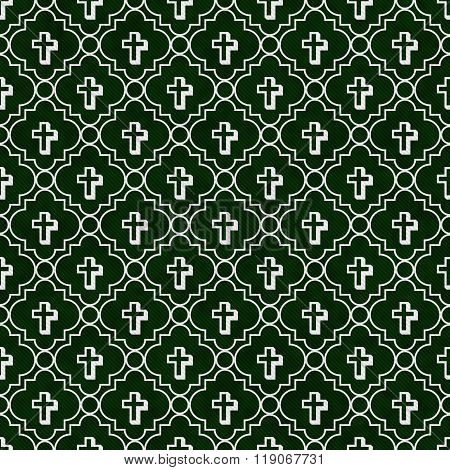 Hunter Green And White Cross Symbol Tile Pattern Repeat Background