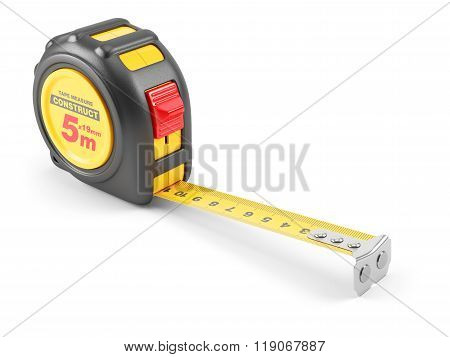 Yellow Tape Mesure Tool. Illustration 3D