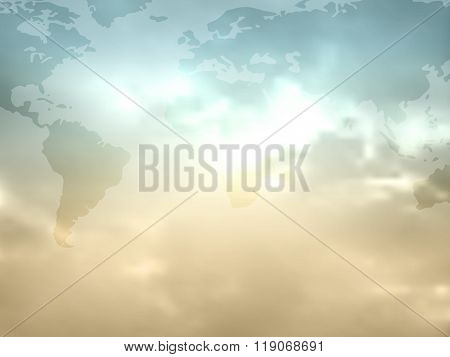 World map flat in retro colors with sky and clouds - global worldmap background