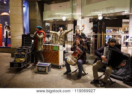 Musicians On A Street Of Munich