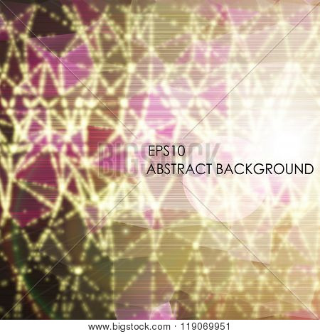 Abstract vector background. Triangle pattern with beams and lights.