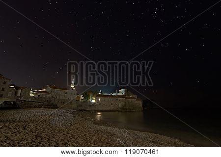 Coastal fortress starry night