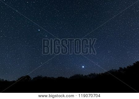 Beautiful night sky Beautiful Star Field with diffraction spikes Jupiter Venus Constellations Auriga