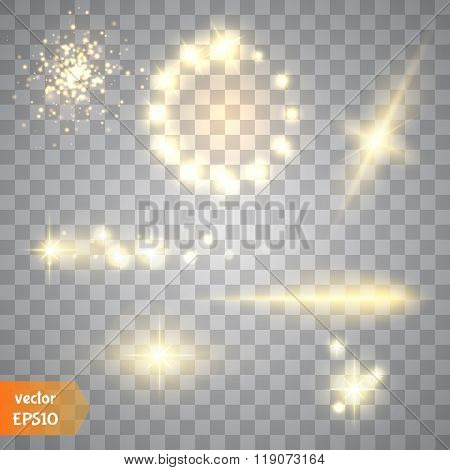 Glow Special Effect Light, Flare, Star And Burst. Isolated Spark.golden Lights. Vector