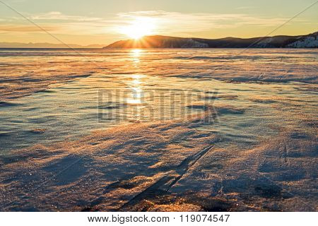 Sunset On The Lake Baikal In Winter